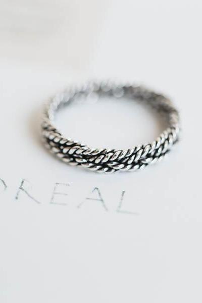 925 sterling silver rope twisted ring,sterling silver ring,,handmade silver rings,simple twist ring,unisex rings,rope ring,SR1002N
