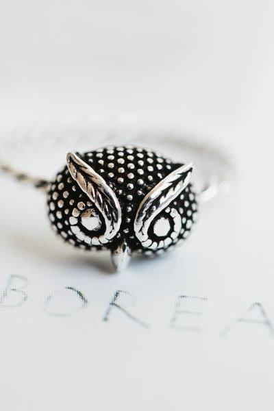 925 sterling silver owl ring,Jewelry,Ring,owl ring,owl jewelry,statement ring,antique ring,nature jewelry,bird jewelry,unisex ring, SR1009N