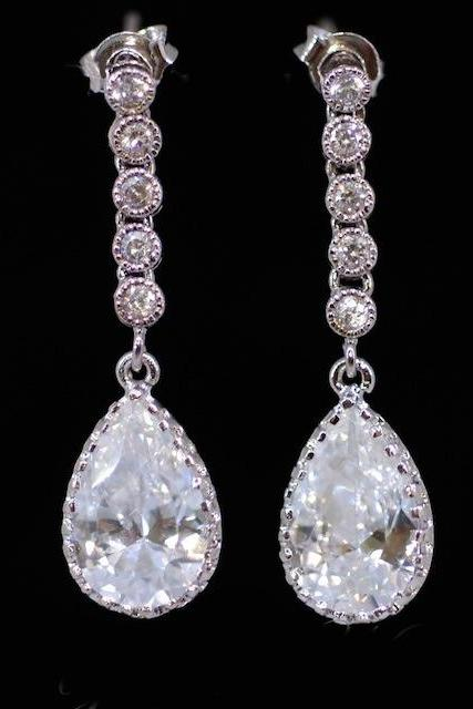 Wedding Earrings, Bridesmaid Earrings, Bridal Jewelry - Long Cubic Zirconia Earring with Cubic Zirconia Teardrop (E307)