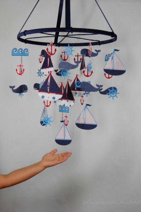 Nautical Nursery Mobile with Sailboat, Anchor, Helm, Whale and Waves - Extra Large