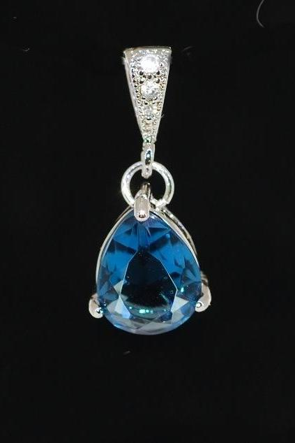Wedding Jewelry, Pendant Necklace, White Gold Plated Cubic Zirconia Detailed Bail with Sapphire Blue Glass Quartz Pendant (P045)