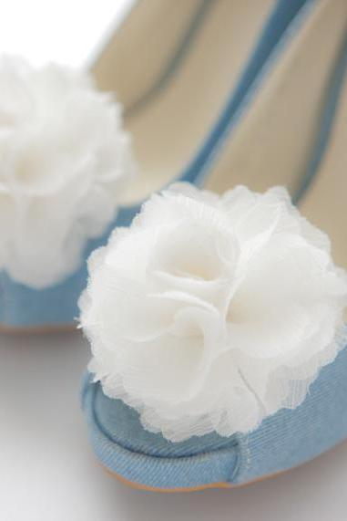 Set of 4 pairs-Chiffon flower shoe clips for bridal wedding/Choose your color