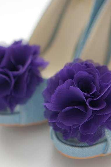 Set of 6 pairs-Chiffon flower shoe clips for bridal wedding/Choose your color