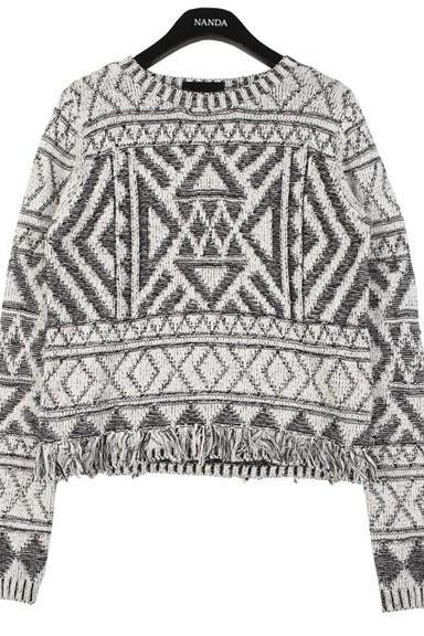 Free shipping Tassels Geo Cropped Sweater