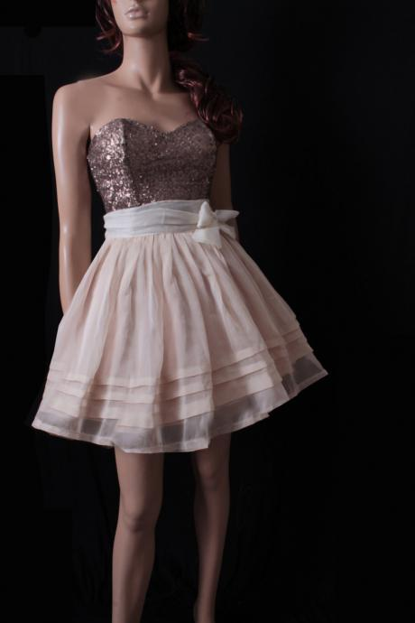 Sweetheart Prom/ Party/ Cocktail/ sequins strapless / Chiffon skirt mini dress