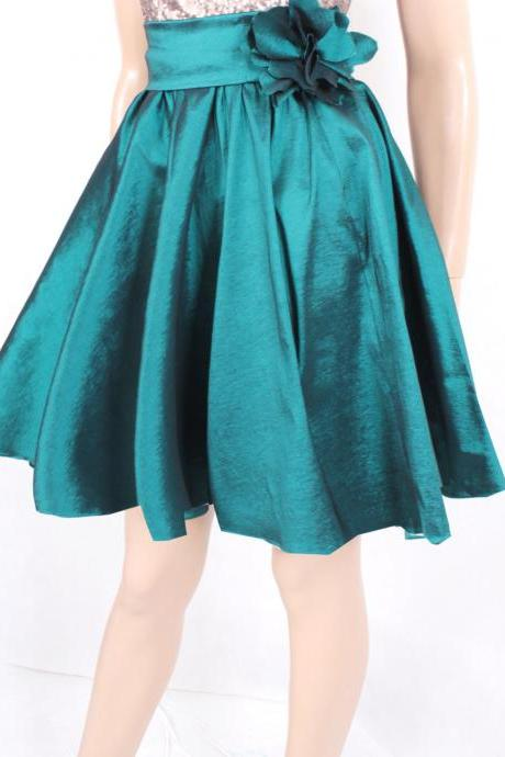 Plus size Dark emerald green taffeta circle skirt