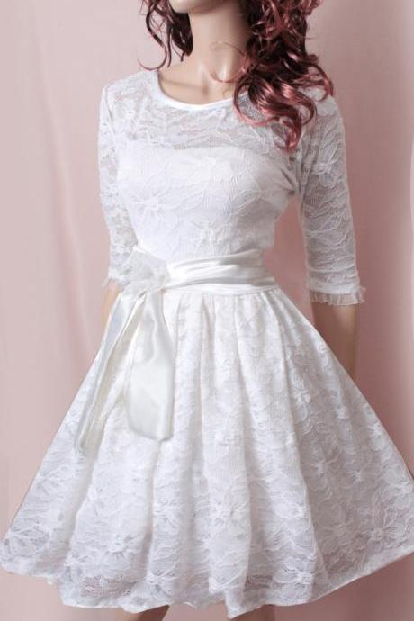 Plus Size Party /White bridesmaid / /romantic / wedding party / lace dress