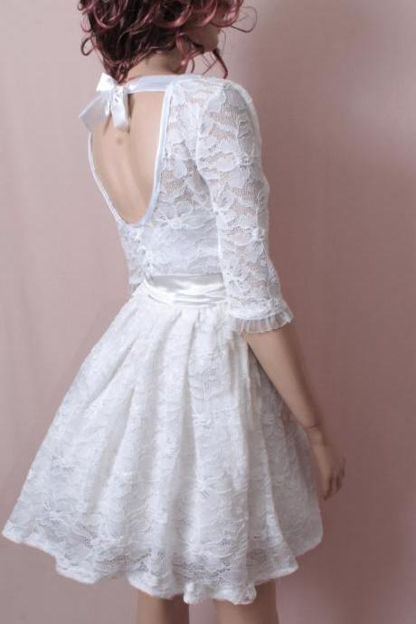 White Bridesmaid lace / wedding party /cocktail / mini / 3/4 sleeves / dress