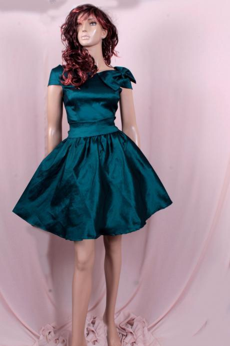 Plus Size Bridesmaid Dark Teal taffeta /party /prom /graduation/formal/ evening dress