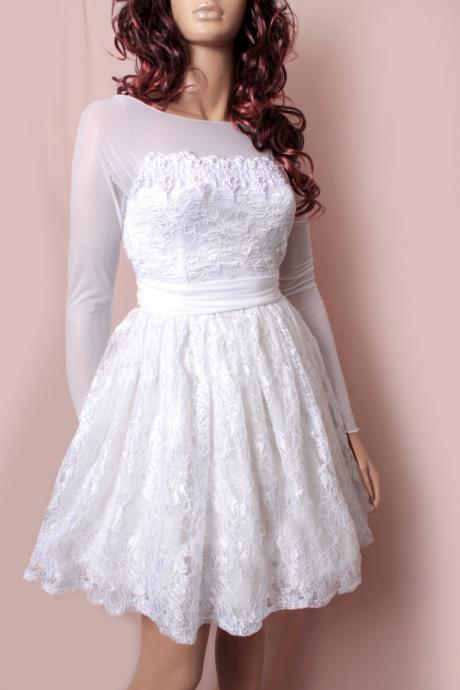 Plus Size Short Embroidery Lace and lulle Wedding dress // long Sleeves dress / Custom Made/ Bridal Gown