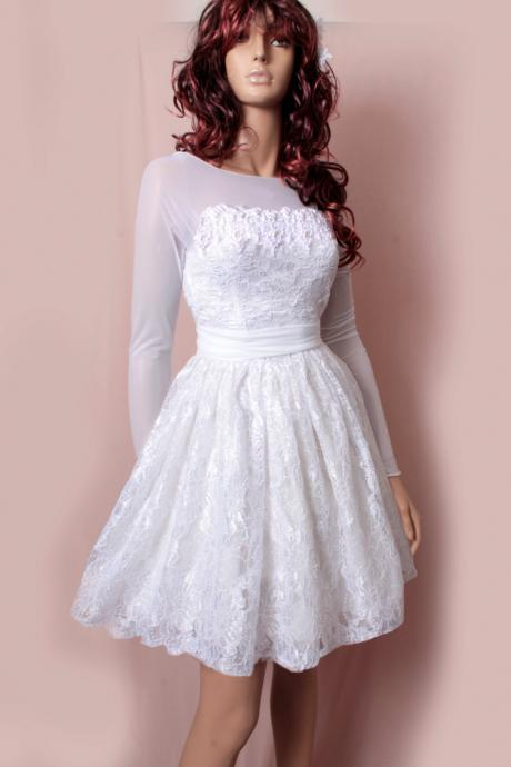 Short wedding lace dresses / long Sleeves tulle / Custom Made/ Bridal Gown
