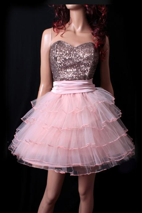 Sweetheart Party/ Cocktail/ Sweetheart /Sequins strapless/tulle skirt/ mini tutu dress