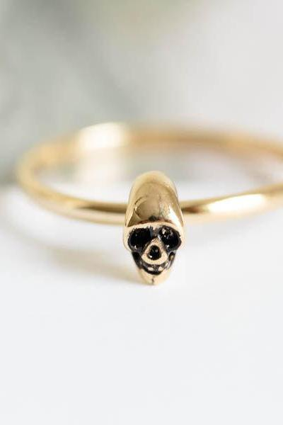 mini skull ring,skeleton ring,adjustable ring,strech ring,skull pendant,knuckle ring,R078N