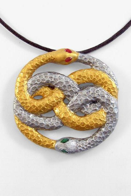 Auryn Neverending Story Silver and Gold Snake Pendant and Necklace
