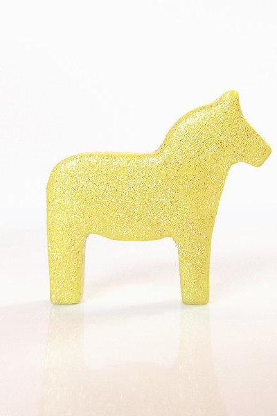 Pastel Yellow Dala Horse Figurine with Pretty Glitter