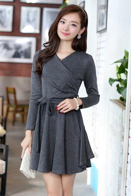 Fantasy V Neck Long Sleeve Belt Design A Line Dress - Grey