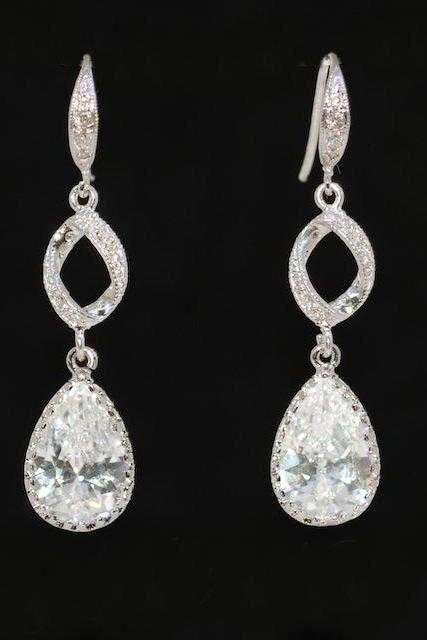 Wedding Earrings, Bridesmaid Earrings, Bridal Jewelry - Swarovski Clear Crystal with Teardrop Finding and Cubic Zirconia Earring (E274)
