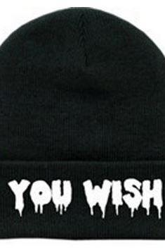 YOU WISH Black Beanie Skull Cap Unisex