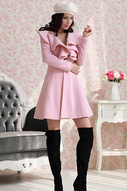 Vogue Turndown Collar Button Fly Warm Coat - Pink