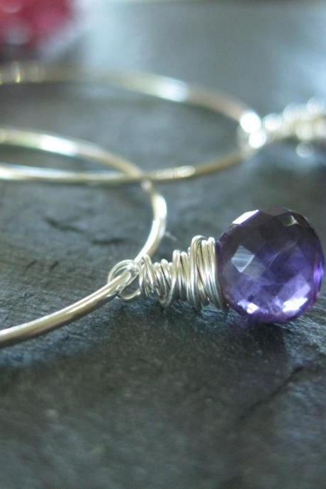 Purple amethyst hoop earrings, sterling silver hoop