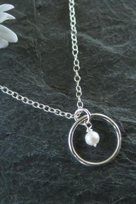 Pearl necklace, tiny natural pearl necklace, silver circle, wedding jewelry