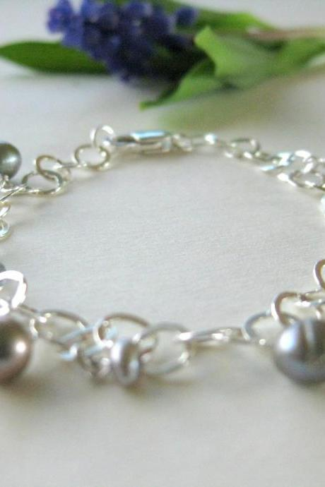 Pearl and sterling silver chain bracelet, grey green shimmering freshwater pearls