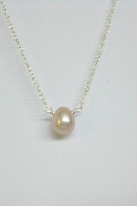 Pink lavender pearl drop necklace, simple single pink pearl necklace.