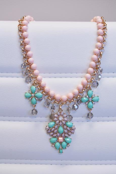 Pink Bead and Turquoise Faceted Floral Statement Necklace