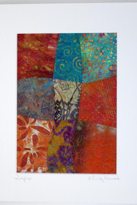 Framable Fiber Art, Matted 8 x 10 Quilt