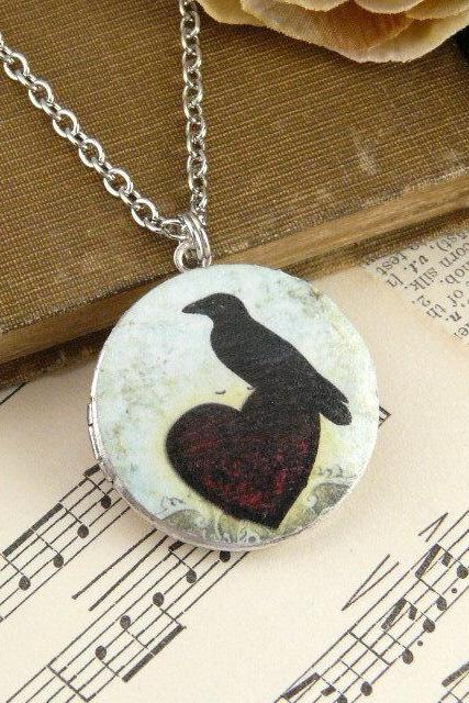 Silver Locket - Vintage Heart Raven Art Locket - Jewelry Necklace Pendant - Mothers Day Graduation Gift Present