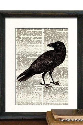 Crow Raven Art Print - Mothers Day Fathers Day Graduation Gift Present - Home Office Decor MATTED
