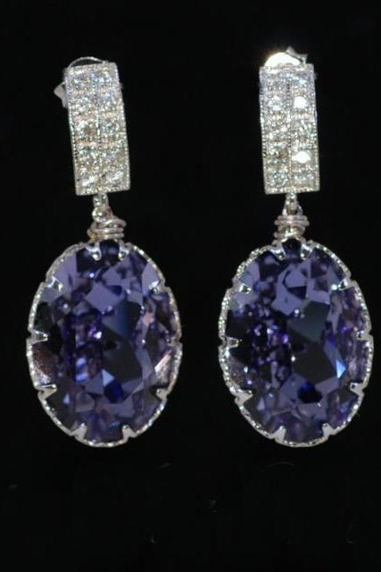 Wedding Earrings, Bridesmaid Earrings, Bridal Jewelry - Cubic Zirconia Detailed Earring and Swarovski Oval Tanzanite (Purple) Crystal (E254)