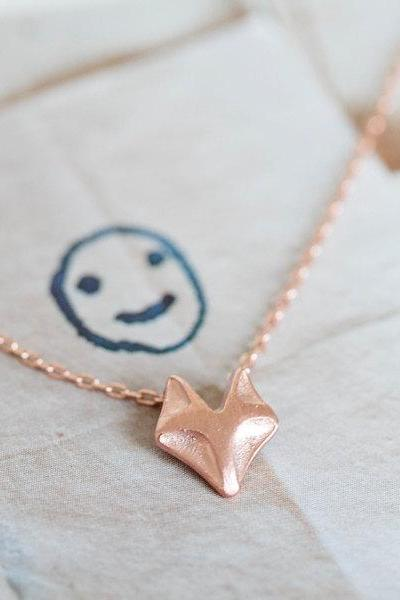 pink color fox necklace,cute necklace,anniversary necklace,pretty necklace,necklace pendant,rose gold necklace,pink necklace,N061K