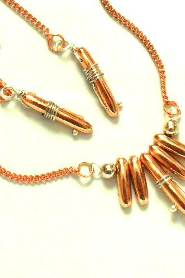 Necklace Sweet bullets Copper necklace Earrings set sterling silver dainty chain Fashion metallic bar 2012 trends For Her Gift Under 30