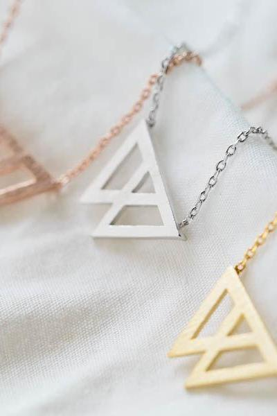 triangle joined necklace,triangle necklace,chevron necklace,gold necklace,bridesmaid gift,bridesmaid necklace,bridesmaid jewelry,N025K