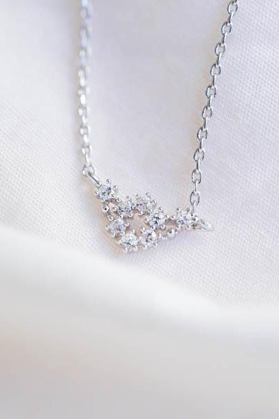 cz chevron necklace,necklaces,wedding necklace,anniversary necklace,engagement necklaice,bridal necklace,bridesmaid necklace, N126K