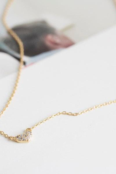 crystal heart necklaces, heart shaped necklace, gold color heart necklace, heart pendant necklace,heart charm necklace, heart jewelry,N096K