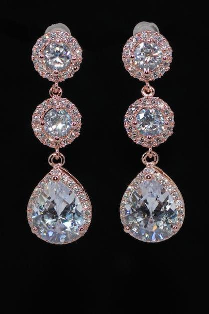 Wedding Earrings, Bridesmaid Earrings, Bridal Jewelry - Rose Gold Plated CZ Round Earring, Small Micropave Round CZ and CZ Teardrop (E599)