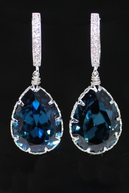 Wedding Earrings, Bridesmaid Earrings, Cubic Zirconia Detailed Earring Hook with Swarovski Montana Blue Teardrop Crystal (E338)