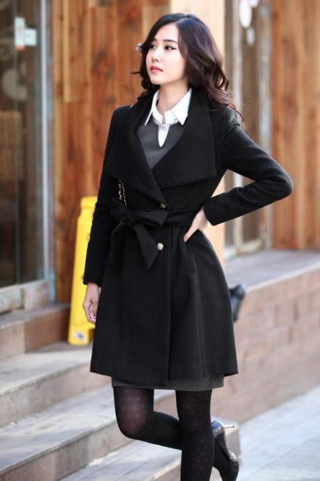 High Quality Side Button Down Belted Wool Coat - Black