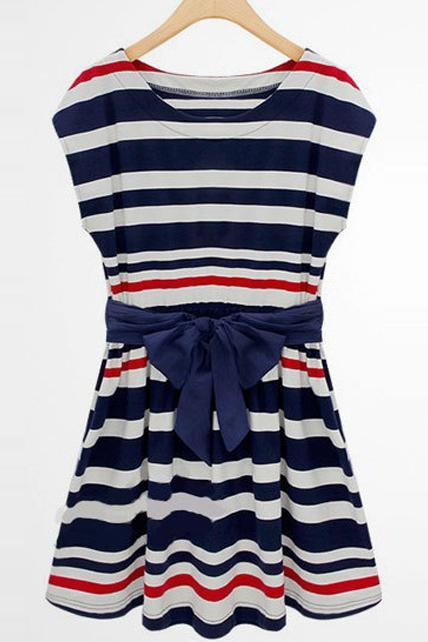 Vogue Preppy Style Cap Sleeve Girls Striped Dress