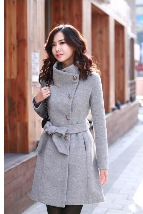 High Quality Side Button Down Belted Wool Coat - Grey