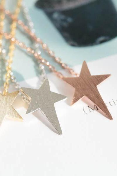 cute star necklace,anniversary necklace,necklace pendant,womens necklace, girls necklace,unique necklace,mothers necklace,N075K