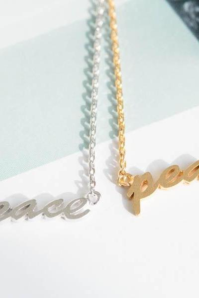 peace necklace,anniversary necklace,necklace pendant,womens necklace, girls necklace,unique necklace,letter neclace,N076K