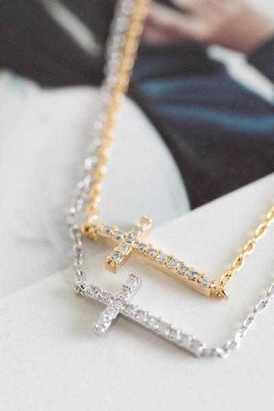crystal cross necklaces,cross necklaces, side cross necklace, sideways cross necklace,necklace for girlfriend, anniversary necklace,N094K