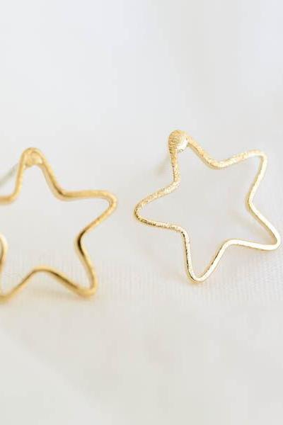outline star earrings/star stud earrings/cute earrings/unique earrings/girl earrings,E064R
