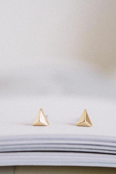 gold solid triagle earrings/gold plated earrings/tragus earrings/cartilage earrings/bling earrings/men earrings/tragus earrings,E029R
