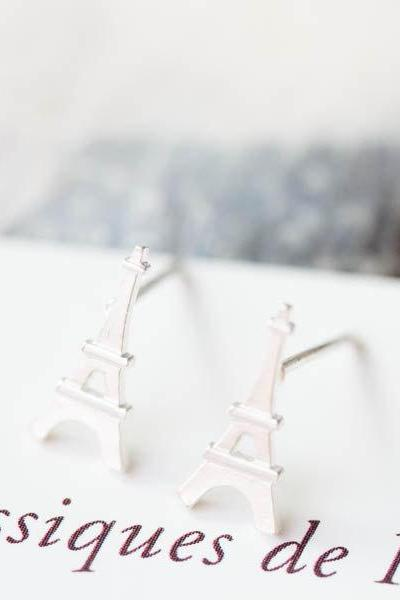 Eiffel Tower silver earrings/earrings silver/earrings for men/men earrings/Eiffel Tower earrings/girl earrings/ little girls earrings,E015R