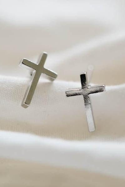 platinum plated cross stud earrings/silver cross earrings/women earrings/earrings men,E045R