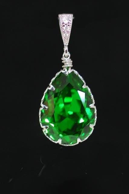 Cubic Zirconia Detailed Pendant with Swarovski Fern Green Teardrop Crystal - Wedding Jewelry, Bridesmaid Gift, Bridal Jewelery (P042)